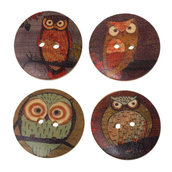 100 Pcs Mixed Owl Pattern Wood Sewing Buttons