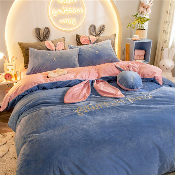 【Free Shipping】4 Pcs Rabbit Winter Warm Coral Velvet Bedding Set
