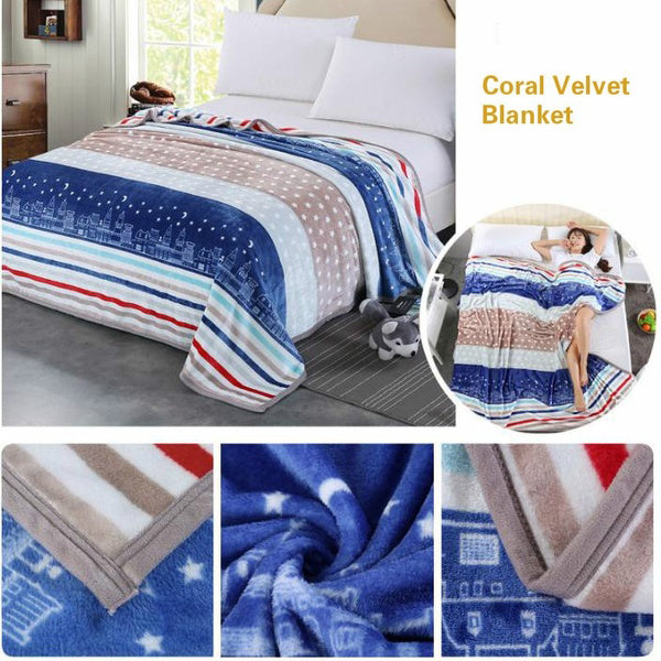 Warm Soft Coral Fleece Blanket Bed Sofa Flannel Blanket