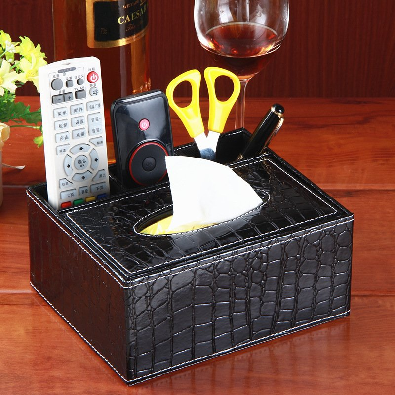 Rectangle PU Leather Tissue Box TV Remote Controller Holder Organizer Multifunctional Holder