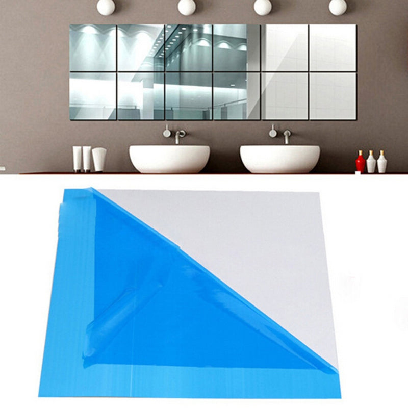 15x15CM Square Mirror Tile Wall Stickers 3D Decal Mosaic Home Decor