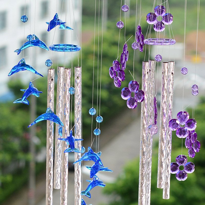 Wind Chimes Dolphin Heart Metal Tube Ornament Balcony Decoration Creative Gift