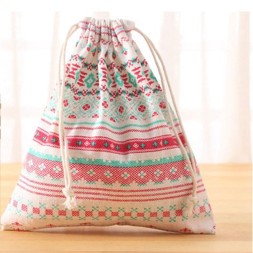3 PCS Linen Storage Bundle Bags Drawstring Clothing Packing Cartoon Cute Outdoor Travel