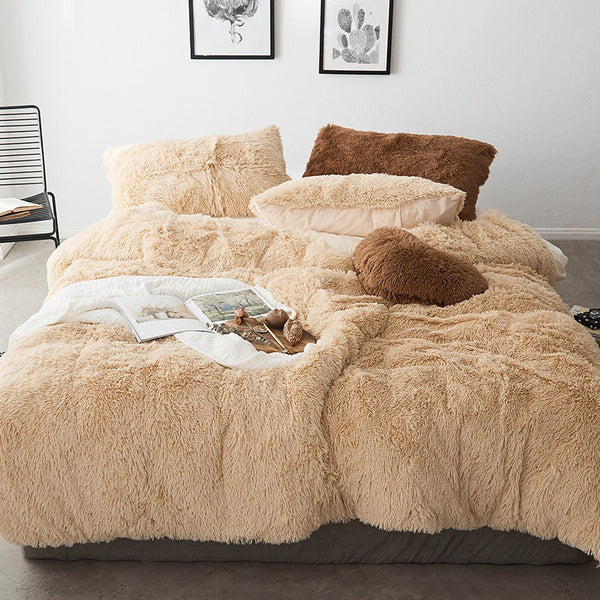 【Free Shipping】4Pcs Luxury Mink Velvet Bedding Set Winter Soft Quilt Cover Bed Sheet Pillowcase Queen Size