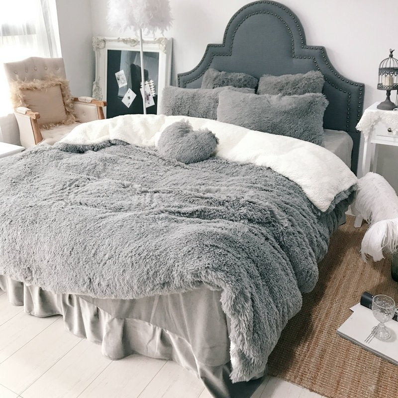 【Free Shipping】4Pcs Coral Fleece Shearling Bedding Set Quilt Cover Bed Sheet Warm Mink Cashmere Cover Pillowcase