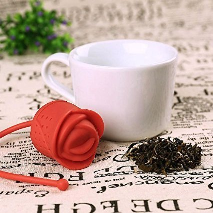 2PCS Rose Tea Strainer Tools Silicone Strainer Loose Leaf Tea Infuser Diffuser Strainer