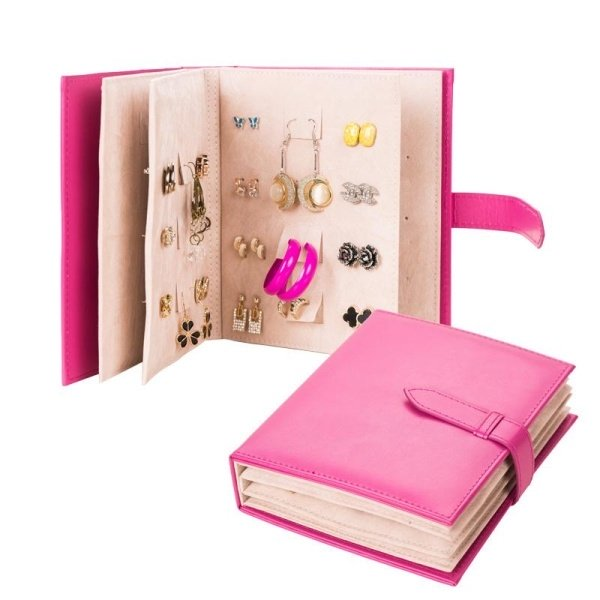 Jewel Case PU Leather Stud Book Earrings Collection Books Portable Women Jewelry Display