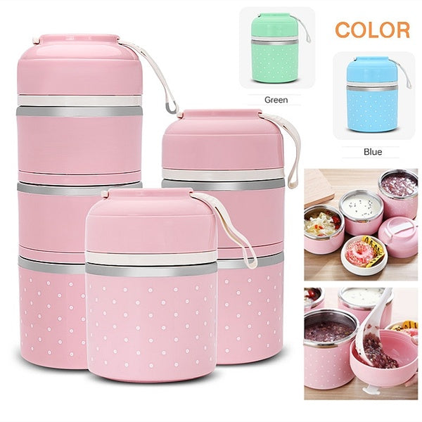 Multilayer Cute Thermal Lunch Box Stainless Steel Food Container for Students Children Outdoor Camping