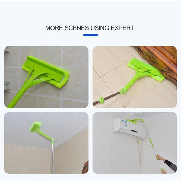 Safty U Shape Telescopic Window Glass Wiper Brush Cleaner Sponge Cleaning Washing Tools with 2 Different Head
