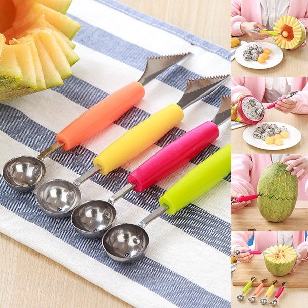 2 in 1 Fruit Digging Ball Tool, Stainless Steel Multifunctional Dig Scoop with Fruit Carving Knife