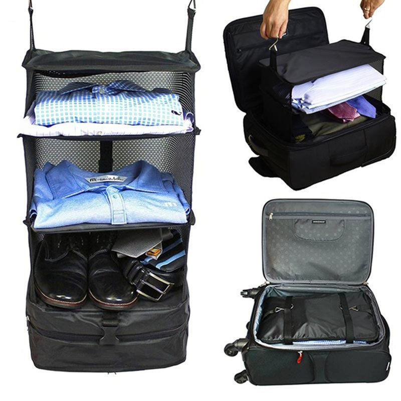 3 Layers Luggage System Suitcase Organizer Bags Packable Hanging Travel Shelves & Packing Cube Organizer