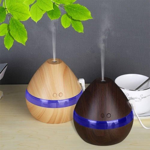 Wood Grain Ultrasonic Aromatherapy Essential Oil Diffuser Quiet Humidifier 300ml