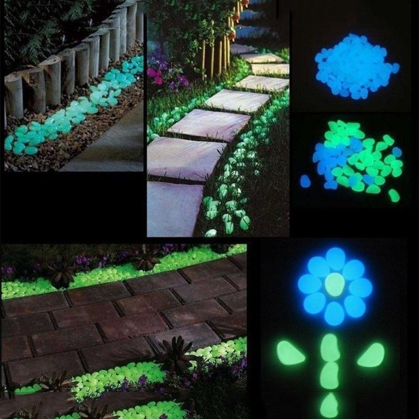 100pcs Night Stones  Glow in  the  Dark Garden Pebbles