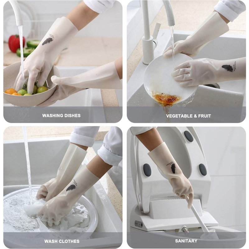 33CM Nitrile Thin Kitchen Cleaning Rubber Gloves