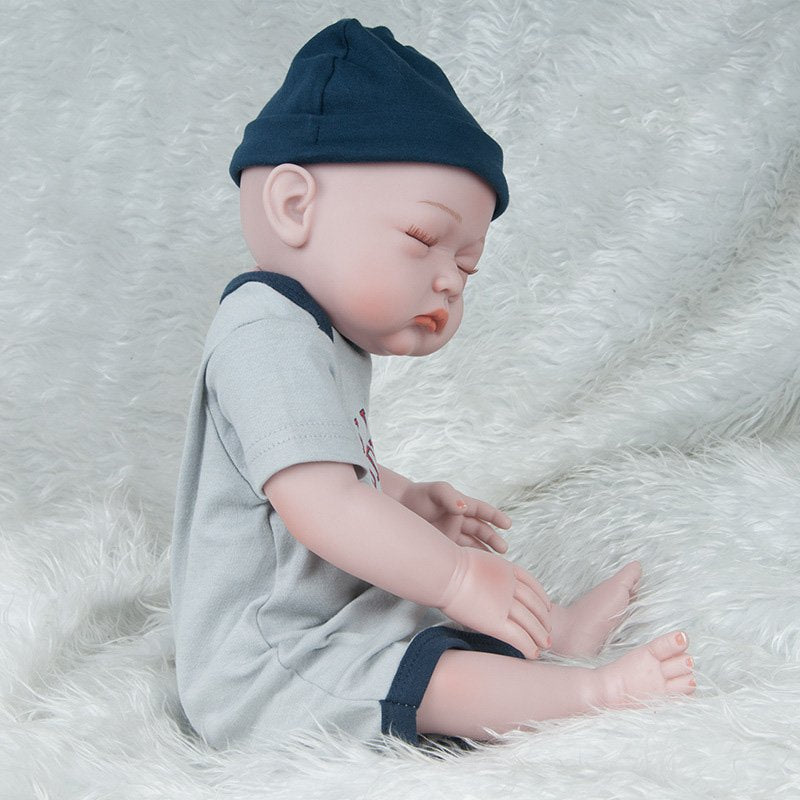 Silicone Reborn Baby Doll Toy Close-Eyes Baby Doll