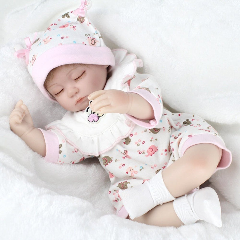 Silicone Reborn Baby Dolls Cloth Body with Cotton Clothes Christmas Gift