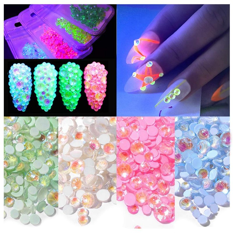 Round Flatback Fluorescent Rhinestones for Nails 3D Nail Decoration Glow in the Dark