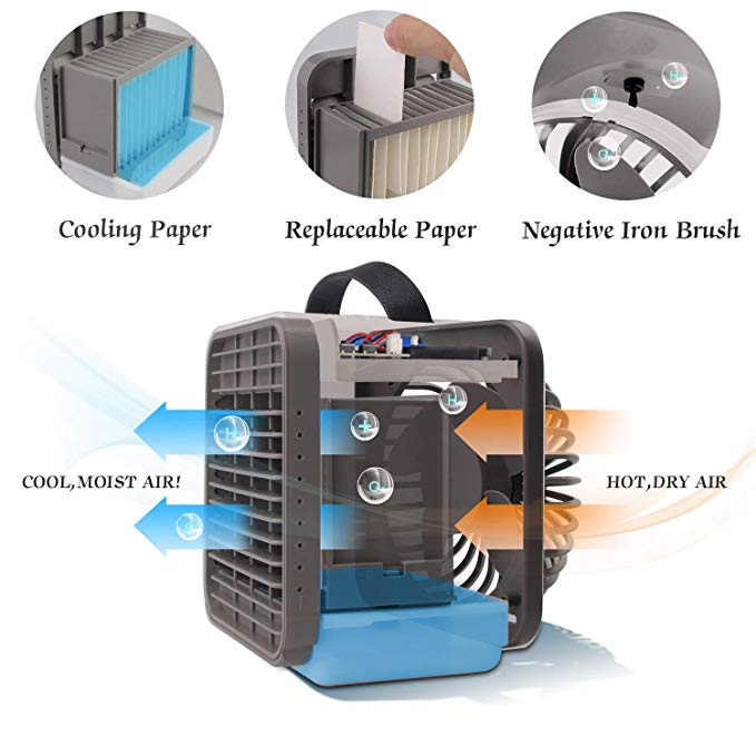 Air Conditioner Fan Portable Personal Space Cooler Negative Ion Desktop Cooling  Purifier Office Home Bedroom