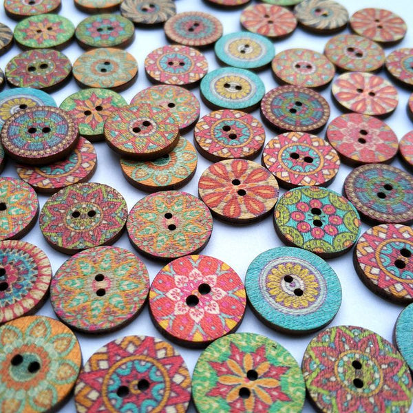 100Pcs Wooden Sewing Buttons DIY Craft Bag Hat Clothes Decoration Sewing Button