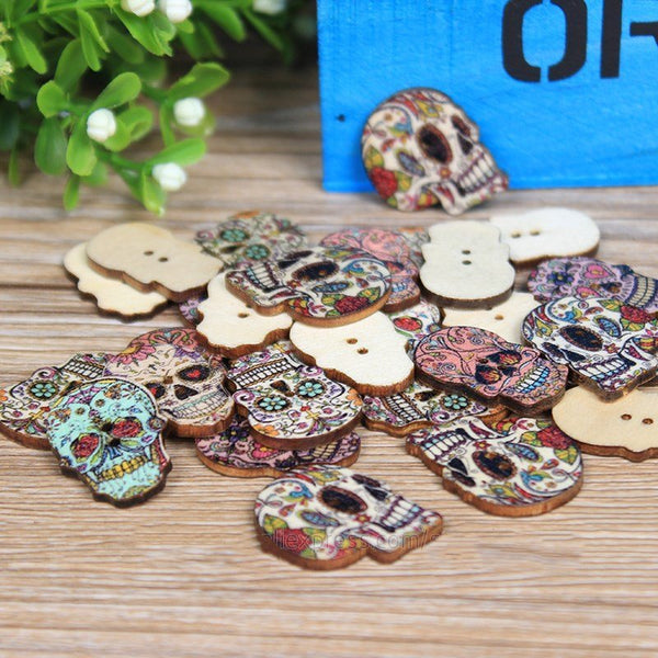 25/30mm 50Pcs Two Holes Skull Head Shaped Cartoon Wooden Sewing Buttons Decoration DIY Materials