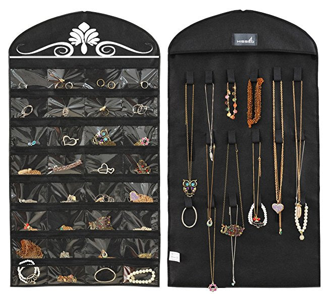 Double Side Jewelry Hanging Non-Woven Organizer Holder 32 Pockets 18 Hook and Loops