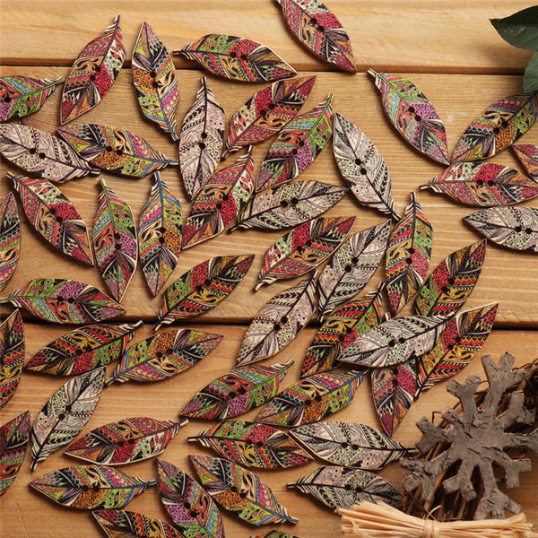 50 Pcs Retro Style Leaves Shaped Wooden Buttons