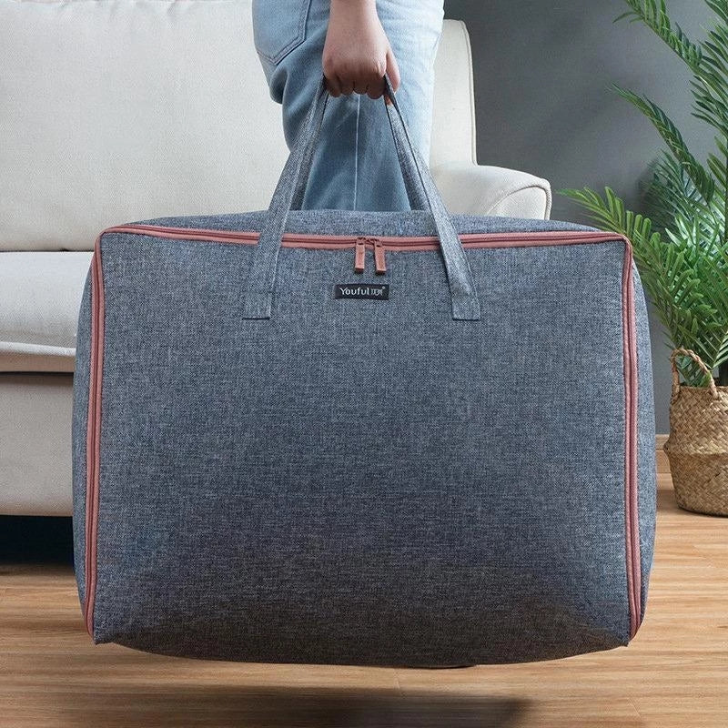 Linen Quilt Storage Bag Cothing Tote Sorting Bag Large Capacity Portable