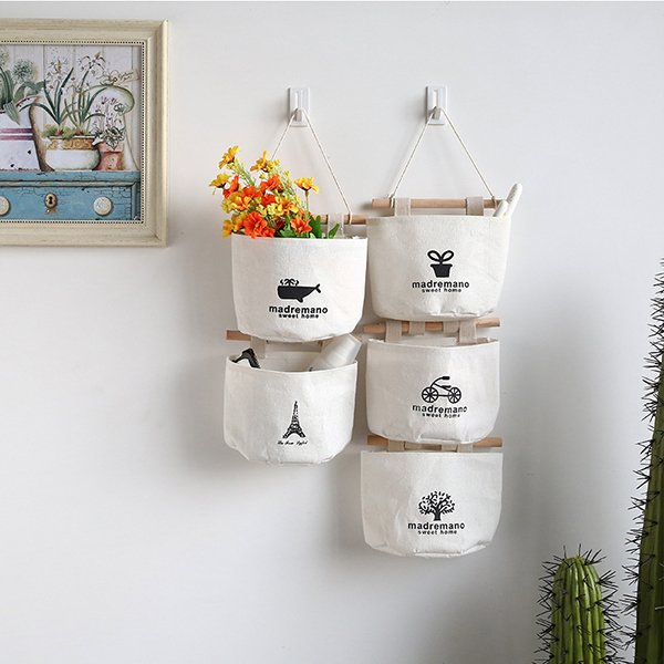 Fabric Cotton Hanging Holder Wall Storage Rack Bags