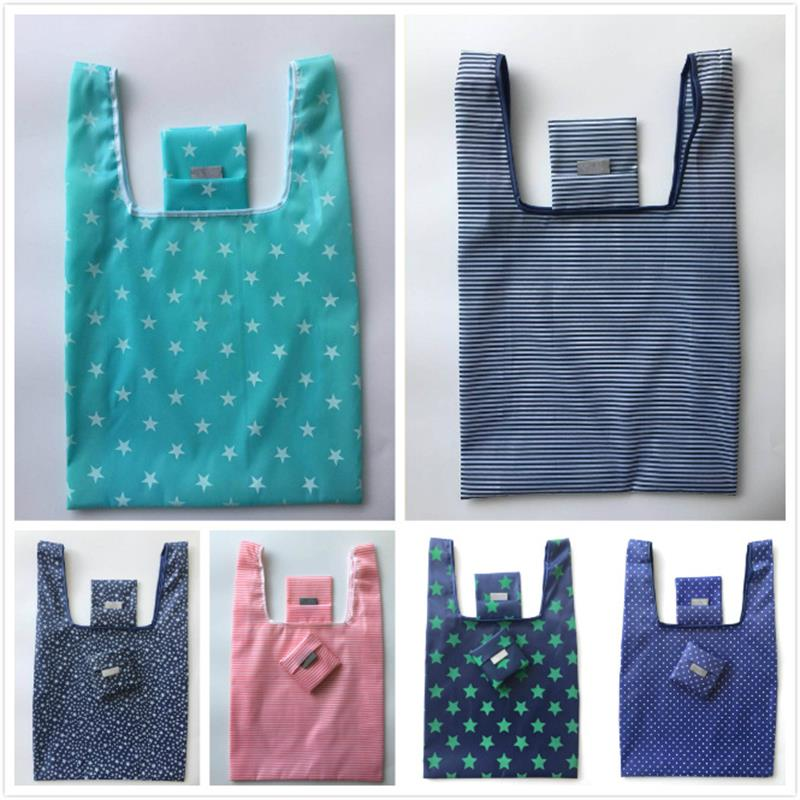 Reusable Folding Waterproof Oxford Square Hand-held Grocery Shopping Bags