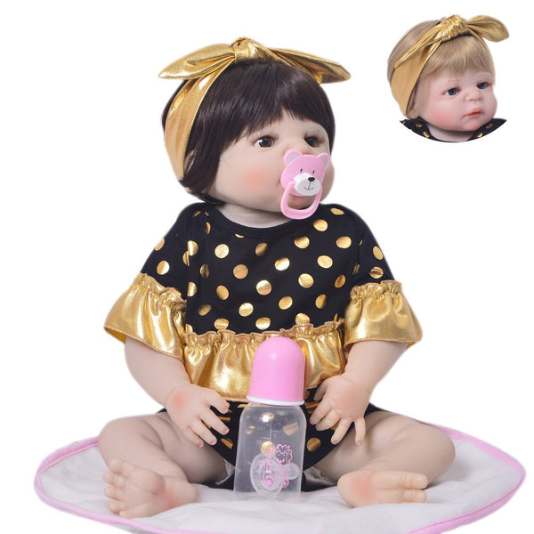Handmade Lifelike Silicone Newborn Baby Girls Cloth Body  Reborn Dolls