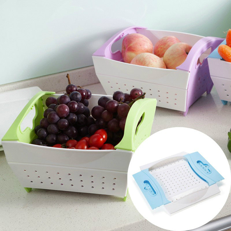 Collapsible Kitchen Basket Dish Tub with Draining Hole Drain Sink Storage Foldable Food Strainers