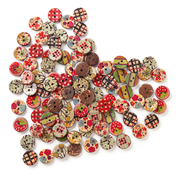 100 Pcs Retro Wooden Sewing Buttons DIY Decor Handcraft