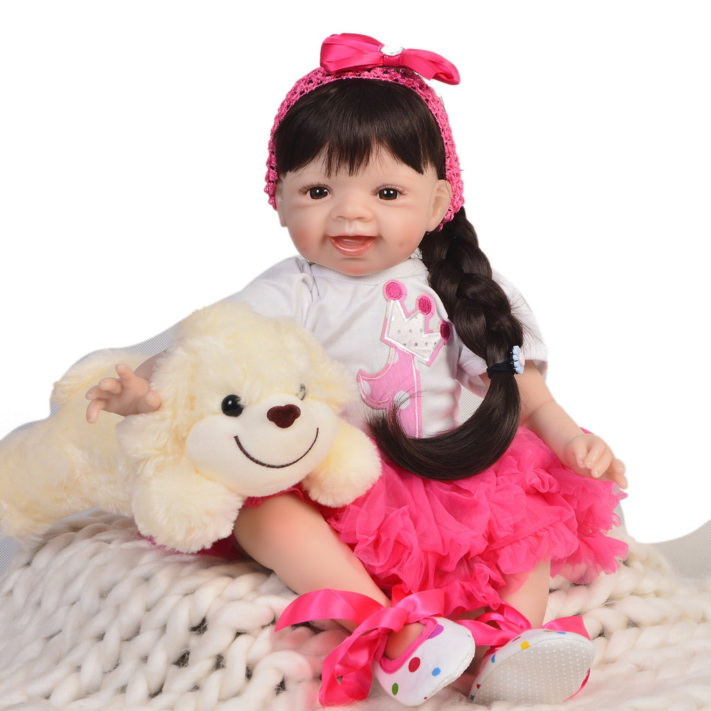 Silicone Reborn Baby Dolls Cloth Body with Cotton Lifelike Soft Silicone Reborn Fashion Doll for Girs