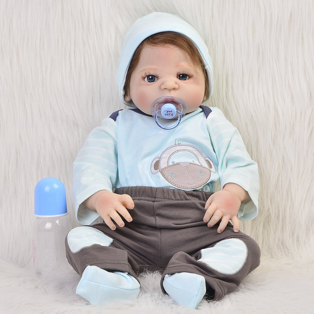 Baby Dolls Reborn Boy Baby Doll Blue/Brown Eyes Silicone Vinly Dolls Children Birthday Gift