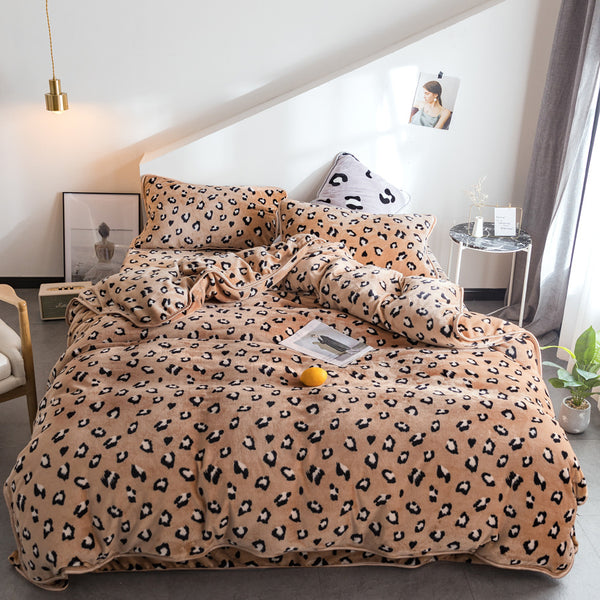 【Free Shipping】4Pcs Flannel Coral Fleece Leopard Print Bedding Set Full Queen Size Duvet Quilt Cover Bed Sheet