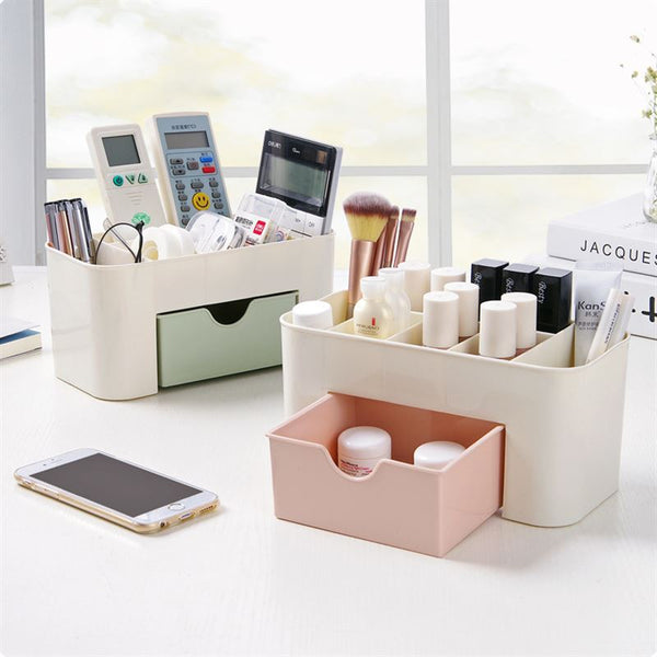 Home Plain Color Plastic Desktop Multi-function Jewelry Cosmetic Storage Box with Small Drawer