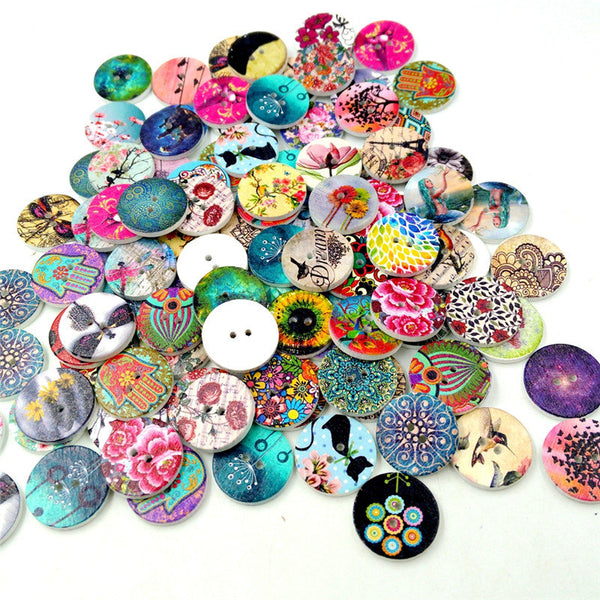 100 Pcs Wooden Decoration Sewing Buttons DIY Materials