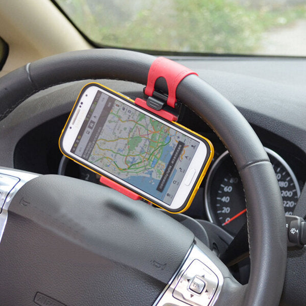 Car Holder Steel Ring Wheel Mount Holder Rubber Band for Mobile Phone GPS