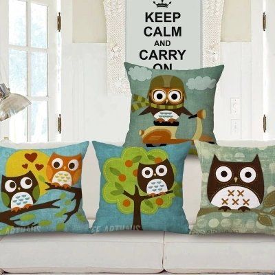 Owl Print Cushion Pillow Case  Car Home Sofa Bed Decor
