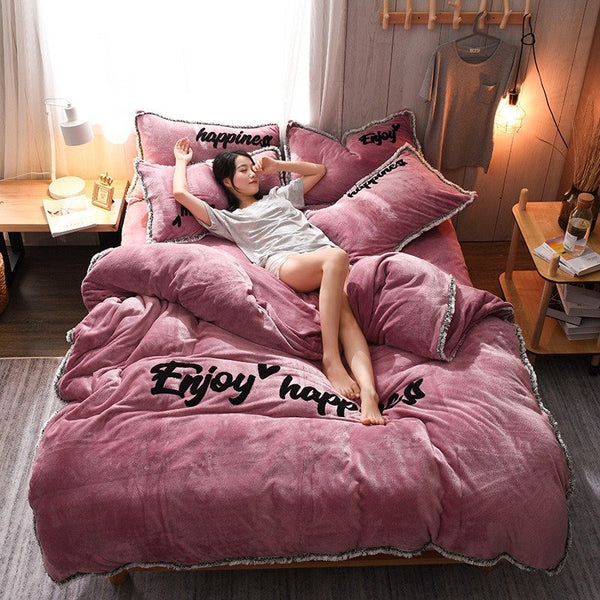 【Free Shipping】4Pcs Double-sided Flannel Coral Fleece Bedding Set Full Queen Size Duvet Quilt Cover Fitted Sheet