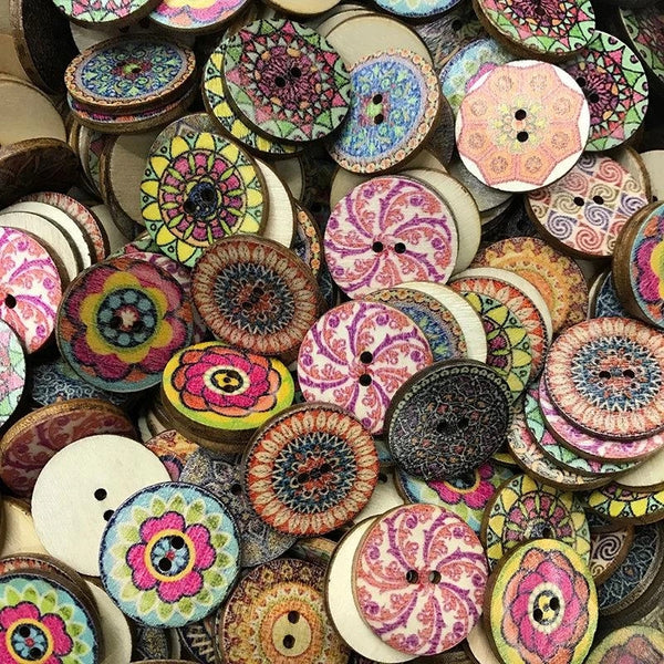 100 pcs Retro Style Wooden Decoration Sewing Buttons