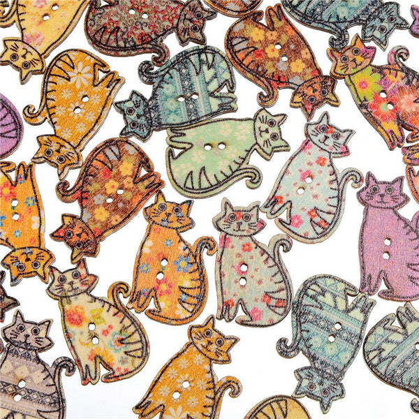 30*20mm Cartoon Cat Shape Bottons Wooden Painting Washable 2-Holes Button Colorful 100 piece