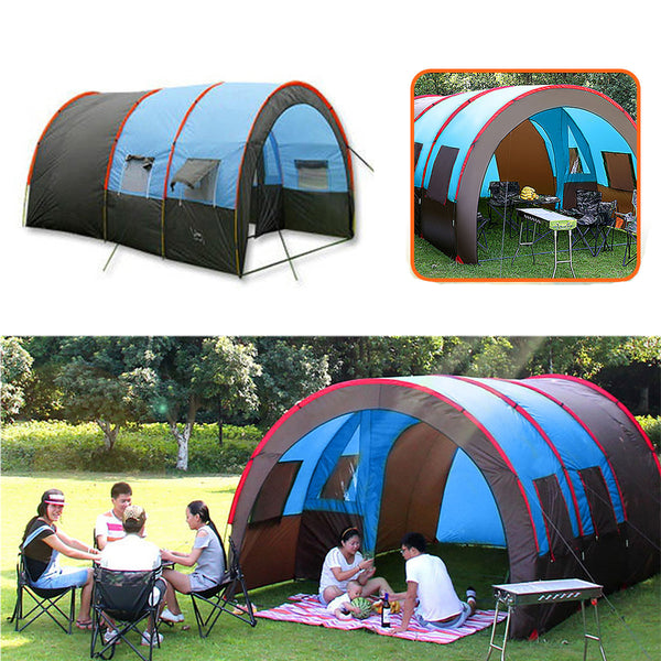 8-10 People Camping Tent Waterproof Tunnel Double Layer Large Family Canopy Sunshade