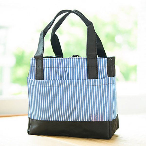 Square Striped Color Stitching Bag Lunch Tote Bag Mummy Bag Bento Bag Picnic Lunch Bag