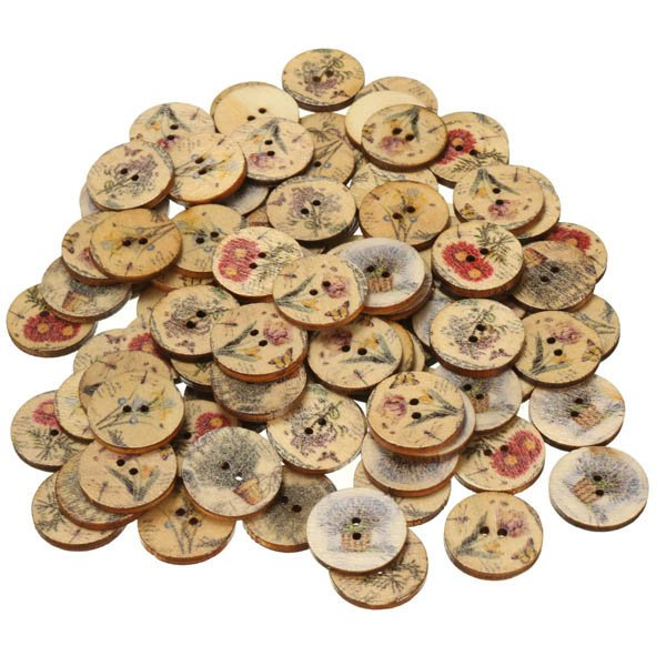 100pcs 20MM Wooden Flower Sewing Buttons DIY Craft Bag Hat Clothes Decoration Sewing Button