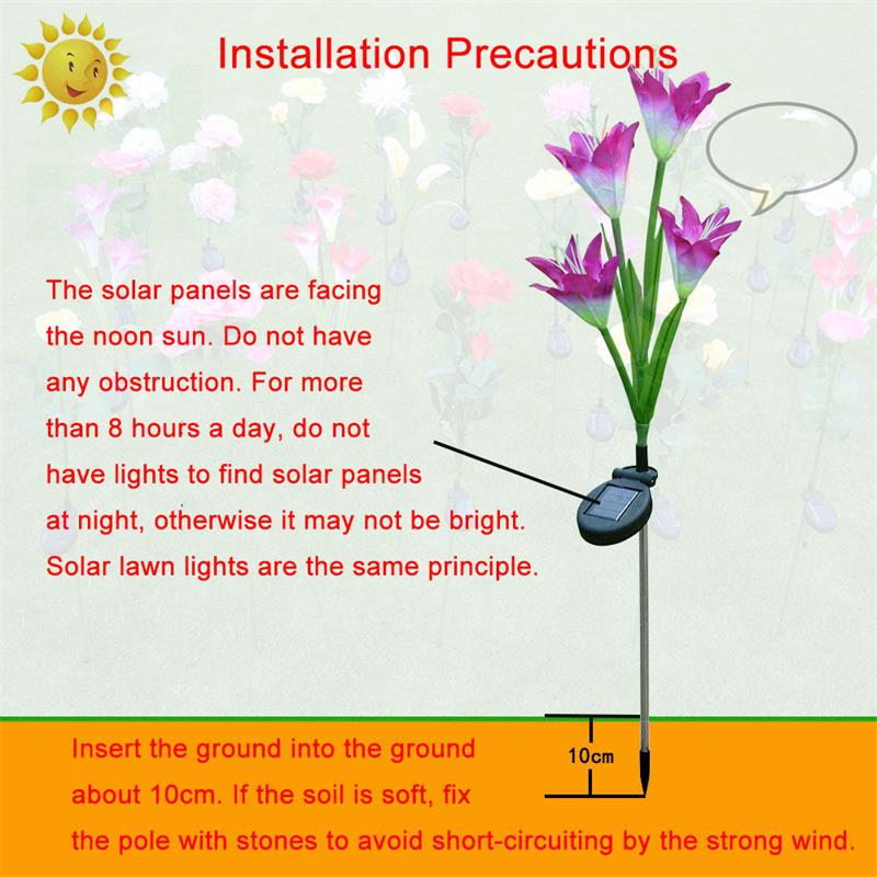 Solar Powered Lily LED Outdoor Garden Light Decoration Lamp Lawn Induction Light