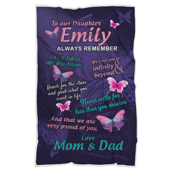 Personalized Daughter Butterfly Blanket