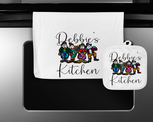 Personalized Mummers Teatowel and Potholder Set