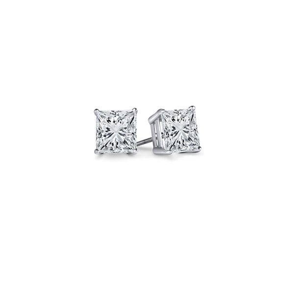 d8083880c 0.10 Carat (Ctw) 14K White Gold Princess Cut White Diamond Ladies Stud  Earrings