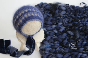 Angora Bonnet & Layer - Midnight Blue